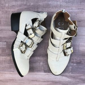 Tobi Perforated White Buckled Booties Size 36